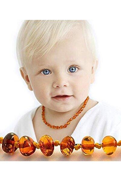 Kubbehan Sertifikalı Kehribar Bebek Diş Kolyesi Konyak Rengi