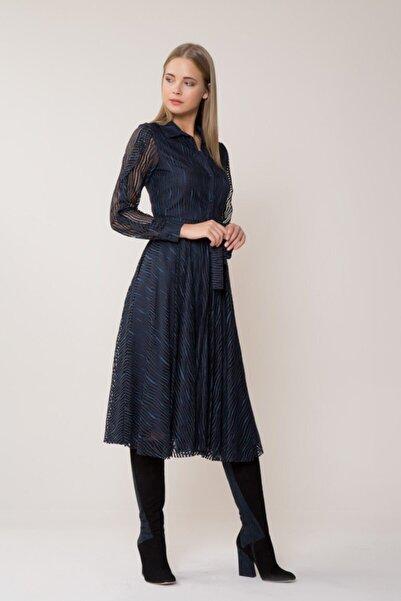 GIZIA CASUAL Kadın Kemer Detaylı Midi Lacivert Elbise M18KEX0741XTJ