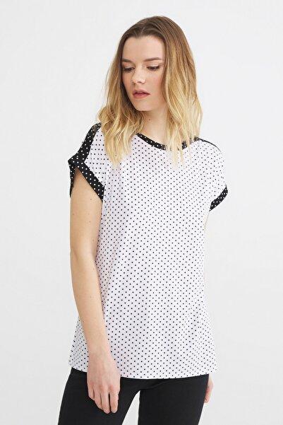Love My Body Kadın Beyaz Kontrast Renkli Puantiyeli Bluz 175L7321000