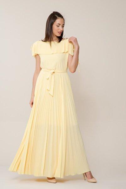 GIZIA CASUAL Sarı Pilise Uzun Elbise