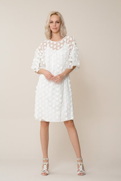 GIZIA CASUAL Kadın Beyaz Çiçekli Tül Elbise M18YEW16612XH