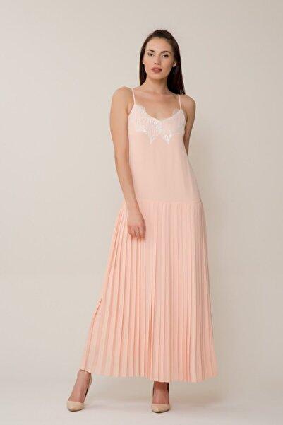 GIZIA CASUAL Kadın Dantel İşlemeli Pudra Uzun Elbise M18YEW12712YQ