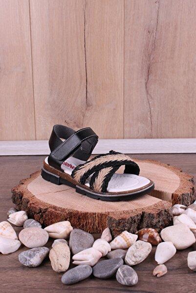 Akıllı Şirin Kız Çocuk Siyah Ortopedik Hasırlı Sandalet