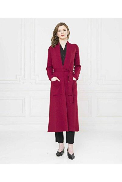 Aker Kadın Kırmızı Bordo Uzun Hırka 5062