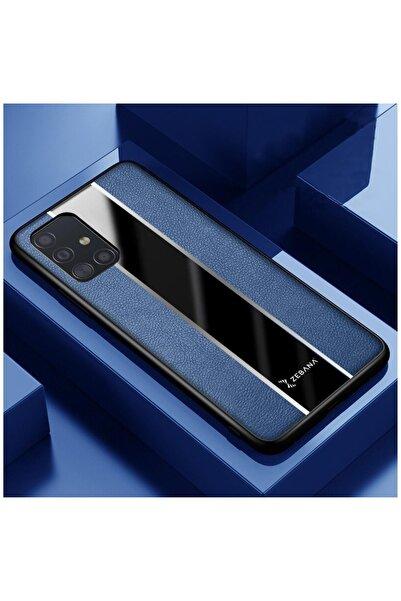 Dara Aksesuar Samsung Galaxy A51 Uyumlu Mavi Deri Telefon Kılıfı