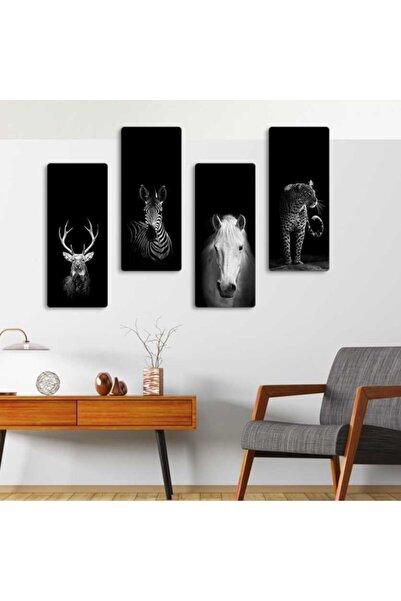 Evonya Kaplan , Zebra , At , Geyik - 4 Parçalı Dekoratif Tablo