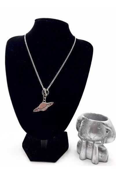 ASL Kadın Gümüş Renk Satürn Figürlü Kolye
