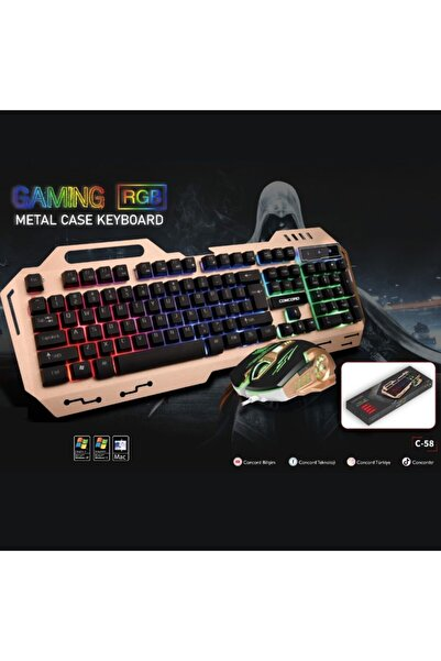 VİPAY Aydınlatmalı Metal Kasa Q Gaming Rgb Mouse Klavye Set Concord C-58