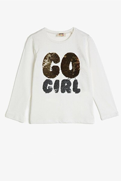 Koton Kids Ekru Kız Çocuk T-Shirt