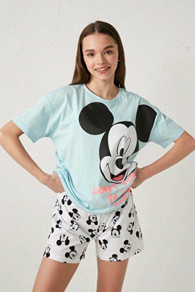 LC Waikiki Mickey Mouse Kadın Mavi G2P Pijama Takımı