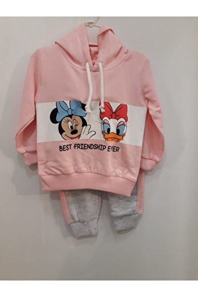 Mickey Mouse Kız Bebek Pembe Kapüşonlu Eşofman Takımı