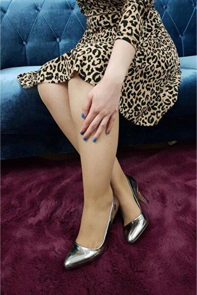 TREND Kadın Platin Rugan Topuklu Ayakkabı