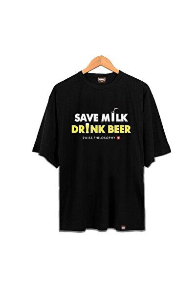 Venice Unisex Siyah Oversize Save Milk Drink Beer Swiss Philosophy Tshirt