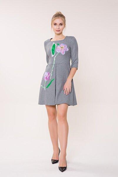 GIZIA CASUAL Çiçek Detaylı Mini Elbise