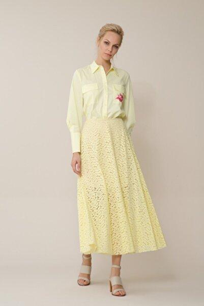 GIZIA CASUAL Kadın Sarı Güpür Etek M18YCW01413FY
