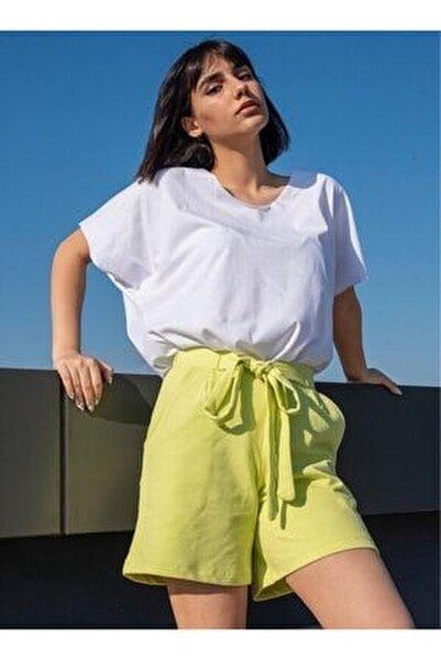 Kadın Yeşil Kuşaklı Şort