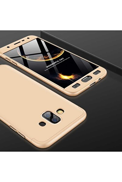 Samsung Nihcase Galaxy J7 Duo 360 Full Protected Cover Gold + Nano Screen Protector