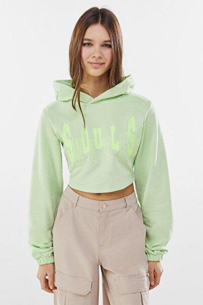 Bershka Kadın Lime Sırtı Pencere Detaylı Kapüşonlu Sweatshirt