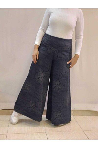 Mertcan Butik Kadın Lacivert Beli Lastikli Bol Paça Desenli Pantolon Etek