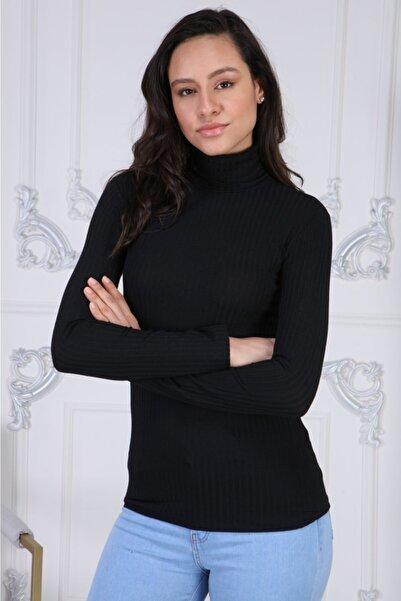 BENDİS Siyah Boğazlı Yaka Kaşkorse Likralı Bluz