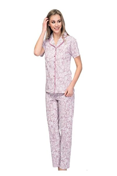 Çift Kaplan 7642 Kısa Kol Boydan Düğmeli Bayan Pijama Takım