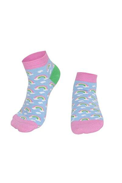 Özgür Çoraplar Kadın Turkuaz Gökkuşağı Patik Çorap