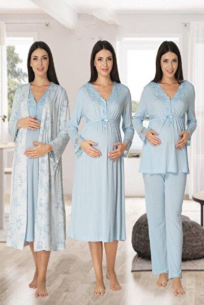 Effort Pijama Kadın Mavi Uzun Kollu Pijama Takımı Gecelik Sabahlık Lohusa Hamile 4'lü Set
