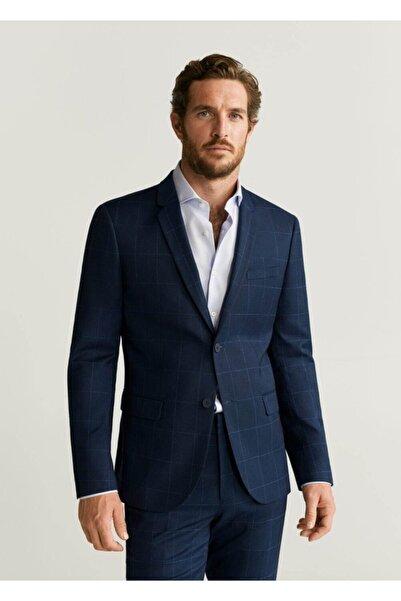 MANGO Man Erkek Lacivert Süper Dar Kesimli Kareli Tailored Blazer Ceket  67010508