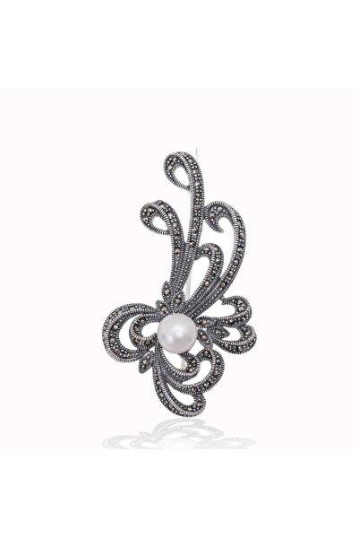Gumush Kadın Gümüş Markazit Taşlı Desenli İnci Broş