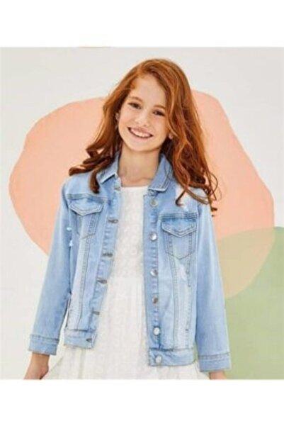 nk kids Kız Çocuk Mavi Taşlı Kot Ceket