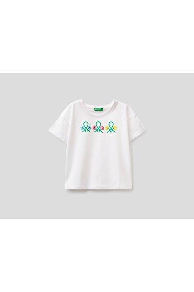 United Colors of Benetton Önü Yazı Baskılı Crop Tshirt