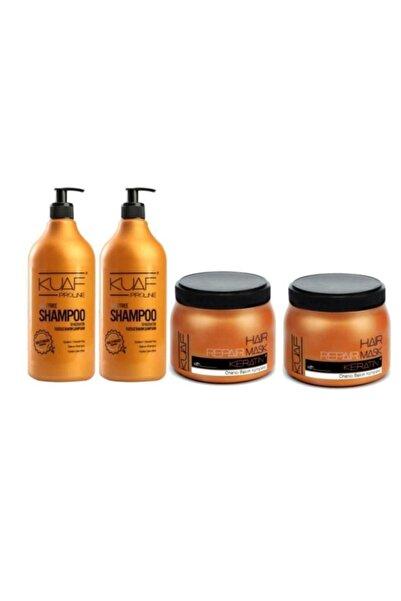 Kuaf Tuzsuz Şampuan 2 X 1000 ml + Keratin Saç Bakım Maskesi (2 Adet)