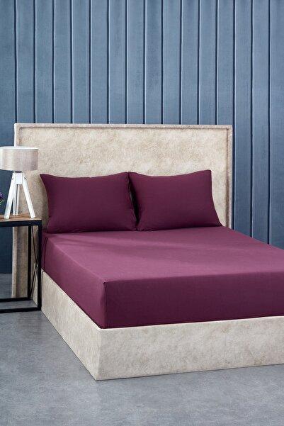 Komfort Home Çift Kişilik Penye Lastikli Çarşaf Seti 150x200 / Vişne