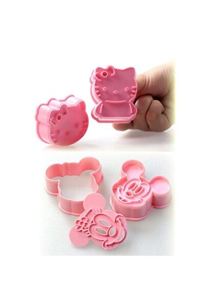 öztürkler 4'lü Set Mickey Mouse Ve Hello Kitty Kurabiye Ve Şeker Hamuru Kalıbı
