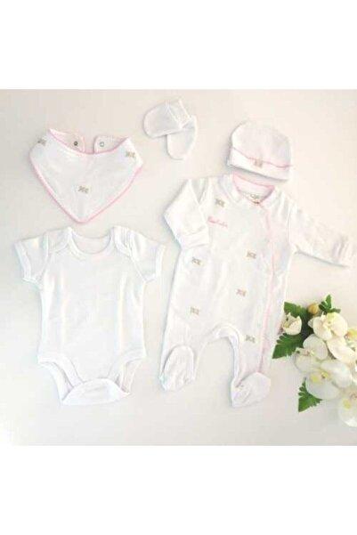 Pierre Cardin Baby Kız Bebek Çiçek Nakışlı Tulumlu 5 Parça Hastane Çıkışı