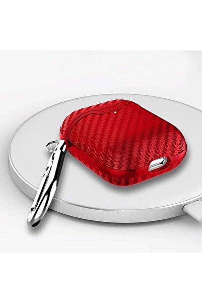 zore Kırmızı Airpods 2 Nesil Uyumlu Airbag Carbon Fiber Silikon Tasarım Kılıf