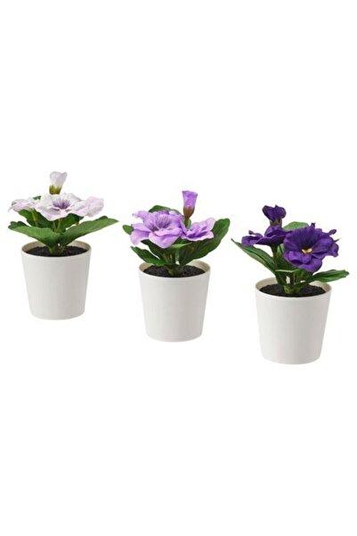 IKEA Fejka Yapay Bitki Çiçek Saksılı 3 Lü Set Hercai Menekşe 6 Cm