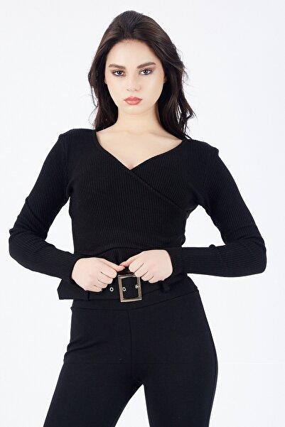 Sense Kadın Siyah Triko Kumaş Bluz | Blz14392