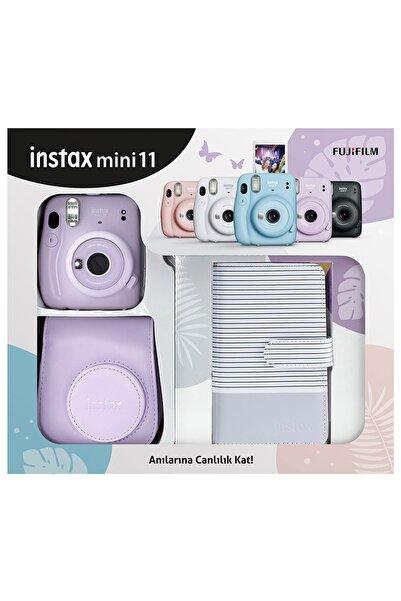 Fujifilm Instax Mini 11 Çizgili Laporta Albümlü Lila Kit