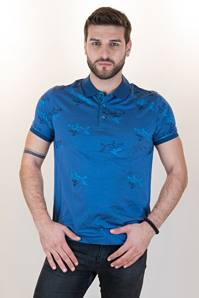 Giovane Gentile Erkek Lacivert Polo Yaka T-shirt 318159116120