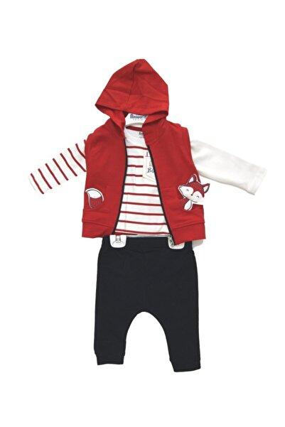 Miniworld Erkek Bebek Kırmızı Tilkili Yelekli  3'lü Takım