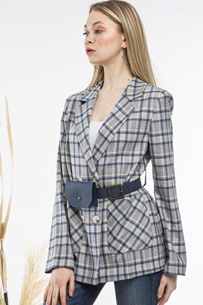 SİSLİNE Kadın Lacivert Ekose Ceket