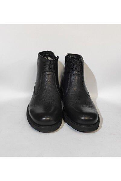 KALE Erkek Siyah Hakiki Deri Kürklü Casual Günlük Kauçuk Tokalı Fermuarlı Bot Ayakkabı