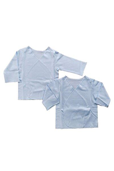 kitikate Unisex Bebek Mavi Düz Renkli Organik Pamuklu 2'li İç Zıbın Takımı