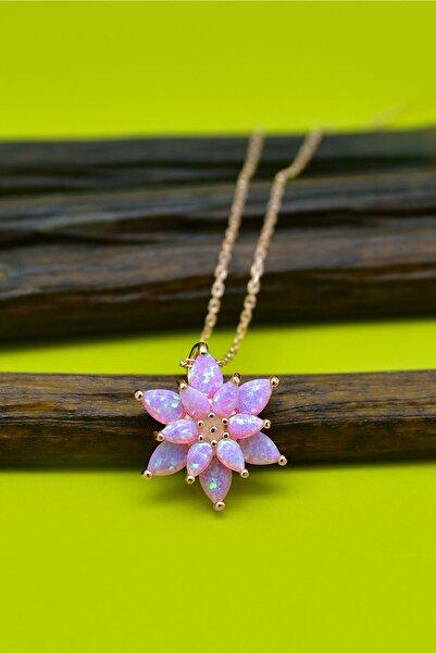 Papatya Silver 925 Ayar Gümüş Pembe Doğal Opal Taşlı Lotus Kolye