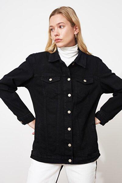 TRENDYOLMİLLA Siyah Uzun Basic Denim Ceket TWOAW20CE0082