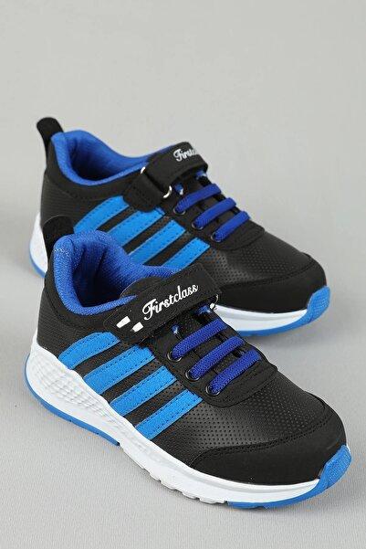 First Class Unisex Çocuk Spor Ayakkabı Siyah Saks Yuad1201