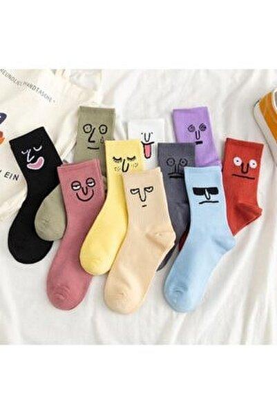 Unisex Renkli Yüz Desenli Tenis Çorap 10'lu