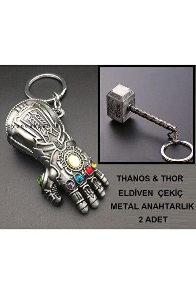 OYUNCAKSAHİLİ Thor Çekiç Thanos Eldiven 2 Anahtarlık Metal Yumruk Çekic
