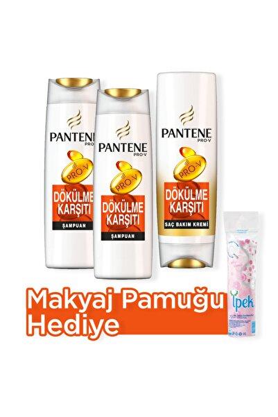 Pantene Saç Dökülmelerine Karşı Etkili Şampuan 500 ml x 2 + Saç Bakım Kremi 470 ml Makyaj Pamugu Hediye